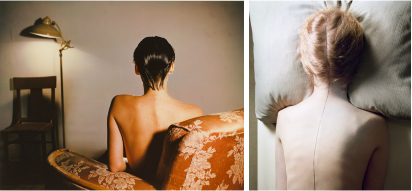 Left: Jo Ann Callis, Woman with Wet Hair, c. 1977  /  Right: Jo Ann Callis, Untitled, From Early Color Portfolio, c. 1976