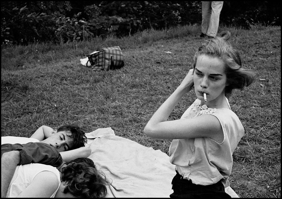 "USA. New York City. 1959. Brooklyn Gang USA. Reno, Navada. 1960. Director John Huston and Marilyn Monroe during the filming of ""The Misfits""© Bruce Davidson/Magnum"