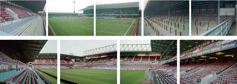 Above: Panorama of the Boleyn Ground as seen from the Chicken Run terrace, 1990 Below: Same vantage point, 2016