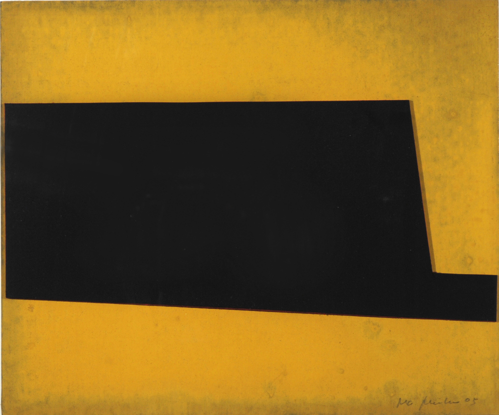 Oxid Yellow #18 , 2005 10.13 x 8.38 inch Oxid Yellow Pigment on Museum Board and Painted Suede Unique artwork
