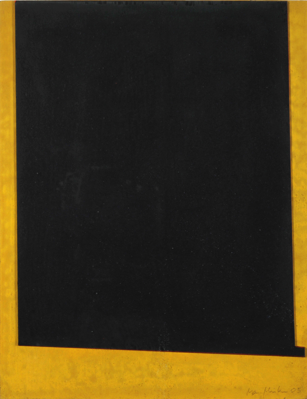 Oxid Yellow #21,  2005 8.5 x 11 inch Oxid Yellow Pigment on Museum Board and Painted Suede Unique artwork