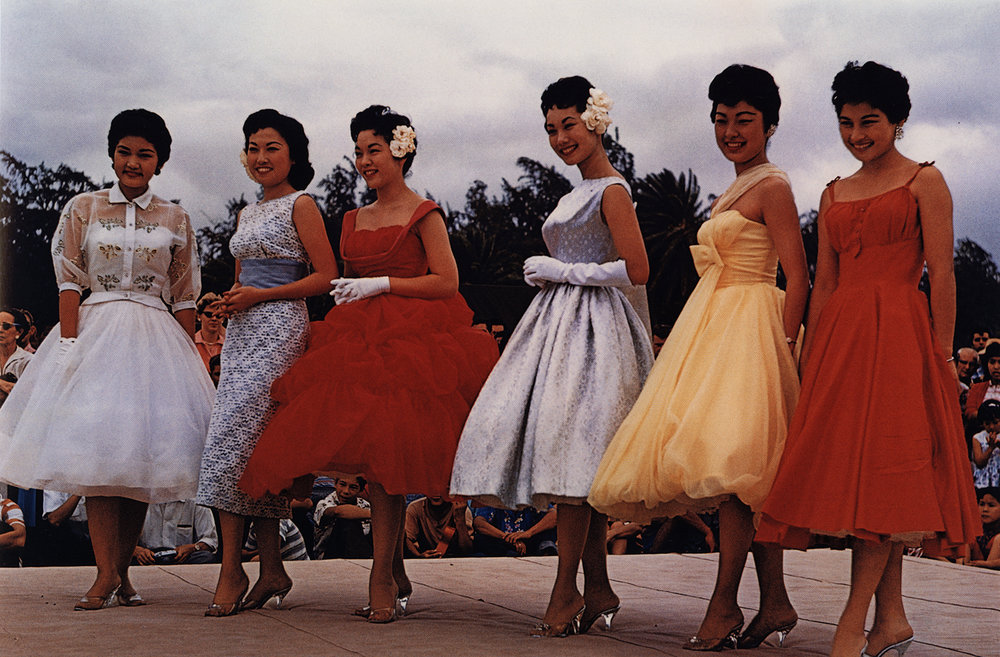 Guy Stricherz Americans in Kodachrome 1945-1965  Beauty Contestants, Kapiolani Park, Honolulu, Hawaii,  c. 1958  Photographer: Oscar Wikeen  16 x 20 inches Dye Transfer Print