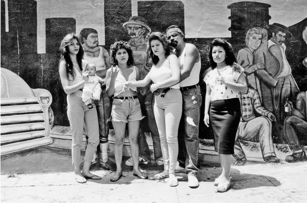 Cholos, White Fence, East LA,  1986  20 x 24 inch Silver Gelatin Print