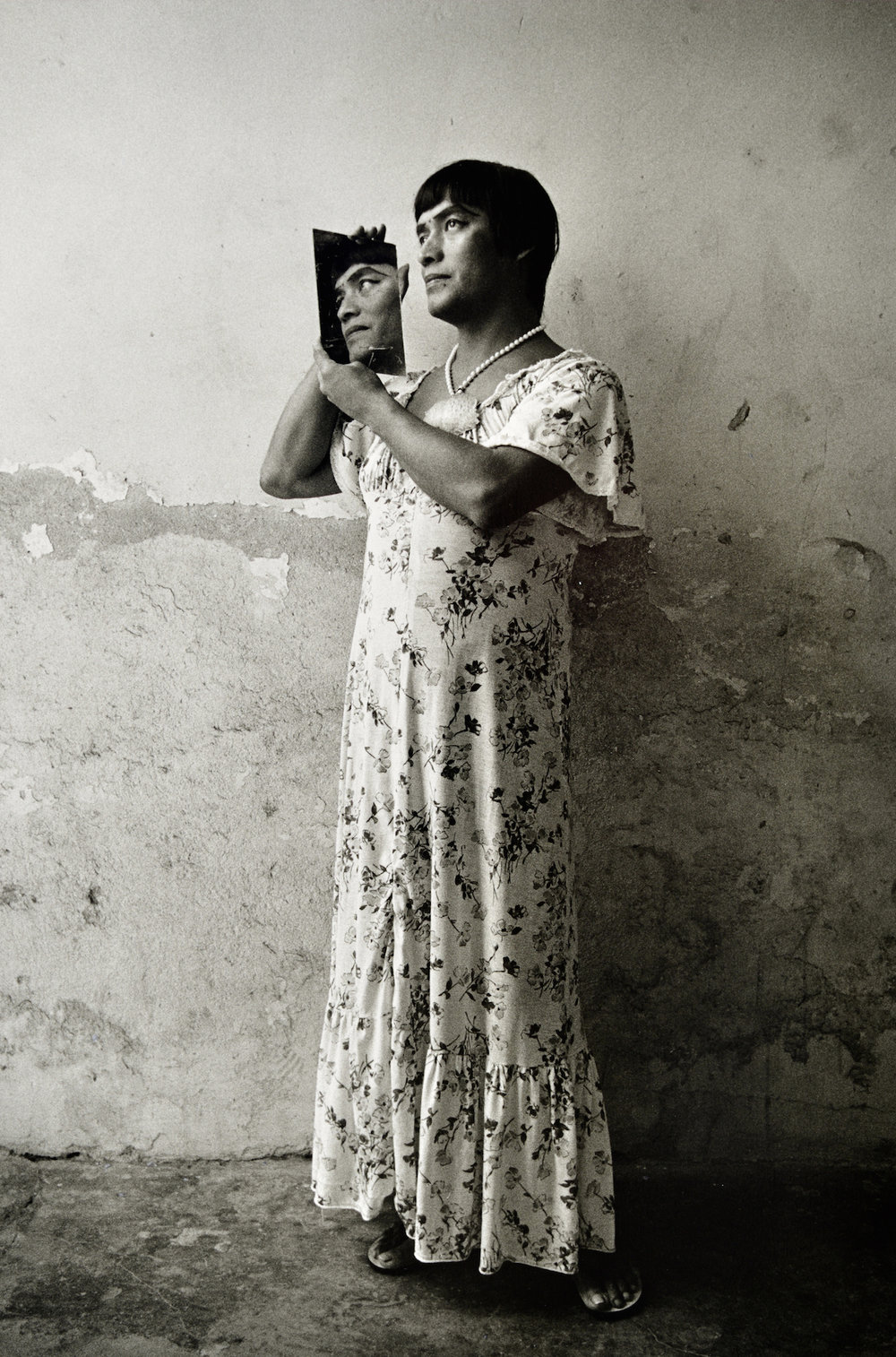 Graciela Iturbide    Magnolia en el espejo, Juchitán, Oaxaca,  1986  12 x 9 inch Silver Gelatin Print