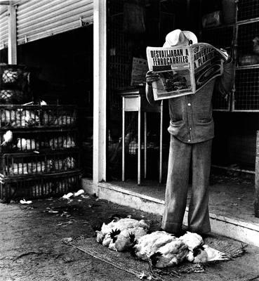 Graciela Iturbide   Señor con gallinas, periódico,  1970s 20 x 24 inch Silver Gelatin Print Signed by the artist on verso Printed under the direct supervision of the artist in 2003 From the collection of the artist Illustrated in: Graciela Iturbide, Pajaros, Twin Palms Publishers 2002 GCP12057 $8,000