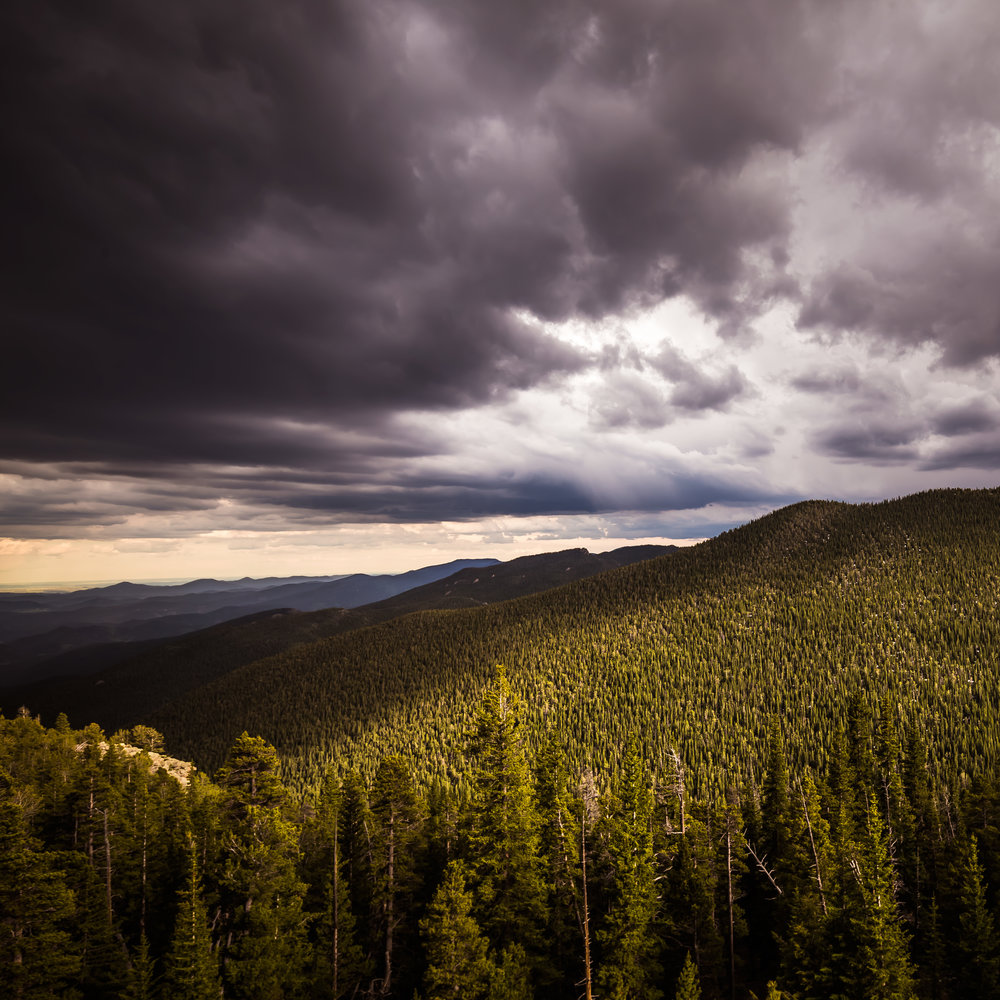 Light - 12x12 print in a 16x16 mat  Taken on June 13, 2015 near Mt. Evans in Colorado.  This was taken just before a crazy lightning storm.  First shown at the Denver Art Society - November 2016 First Friday.