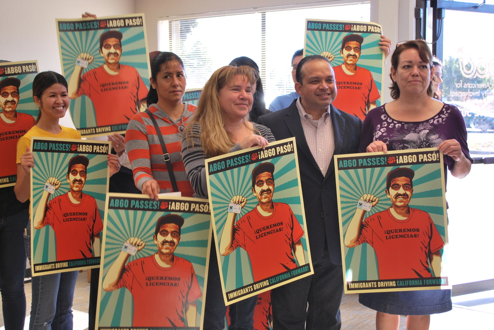 Maria, with other SIREN leaders and Assembly-member Luis Alejo at the October 3, 2014 press conference.