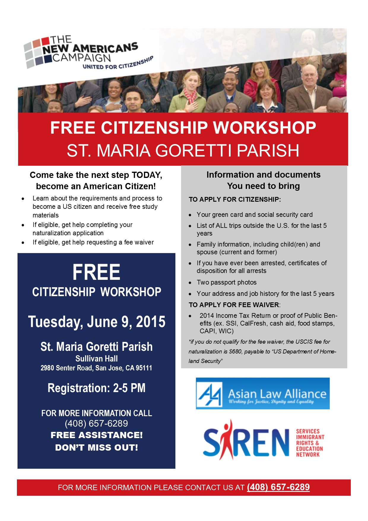 Free Citizenship Workshop (English/Spanish/Vietnamese) — SIREN   Services,  Immigrant Rights, and Education Network