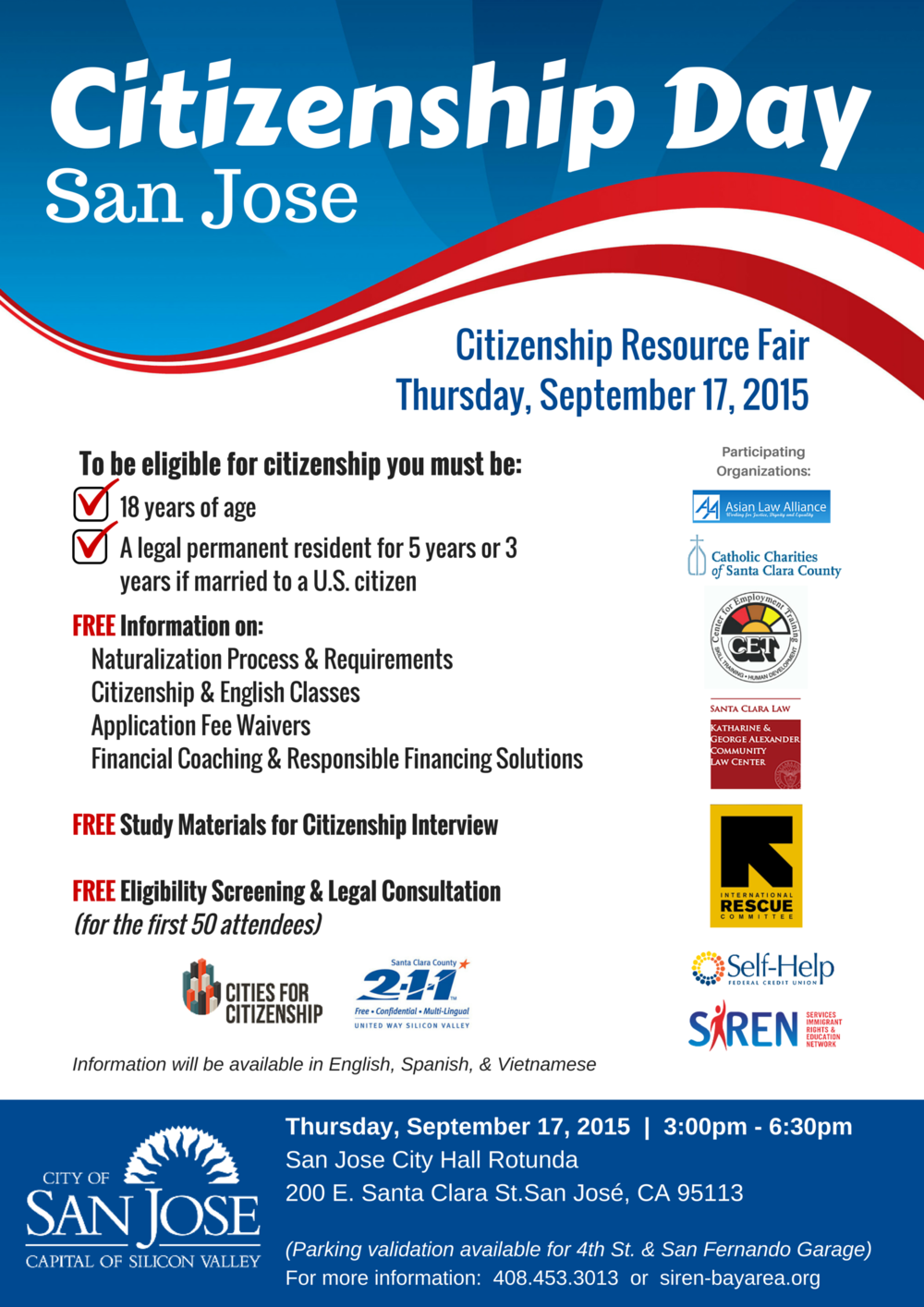 National Voter Registration Day >> Citizenship Day San Jose: Citizenship Resource Fair — SIREN | Services, Immigrant Rights, and ...