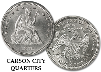 "Carson City Liberty Seated Quarters - ""CC"" 25c"