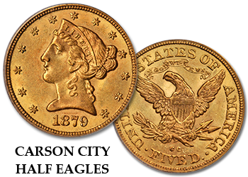 "Carson City Liberty Gold Half Eagles - ""CC"" $5 Gold Pieces"