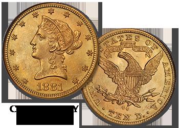 """Carson City Liberty Gold Eagles - """"CC"""" $10 Gold Pieces"""