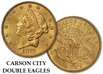 "Carson City Liberty Gold Double Eagles - ""CC"" $20 Gold Pieces"