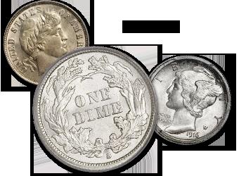 Half Dimes, Bust, Seated Liberty, Barber, & Mercury Dimes - 10c