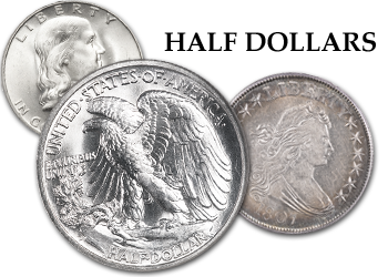 Bust, Liberty Seated, Barber, Walking Liberty, & Franklin Half Dollars - 50c