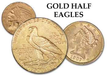 Gold $3, Liberty and Indian Gold Half Eagles - $5