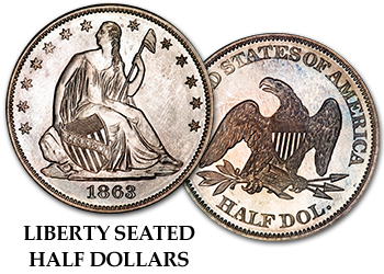 Liberty Seated Half Dollars - 50c
