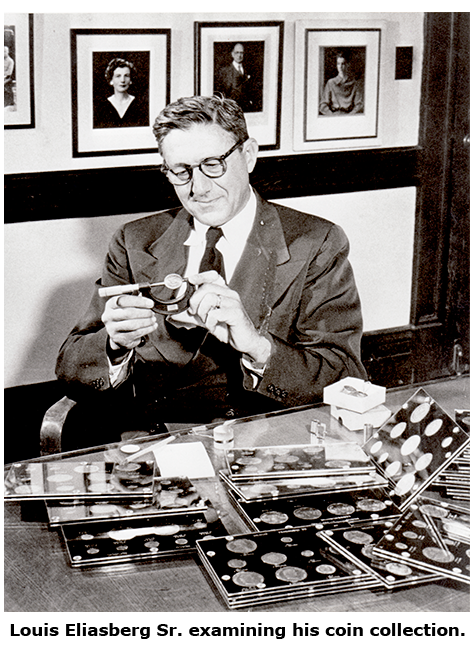 A Younger Louis Eliasberg Sr. examining his coin collection