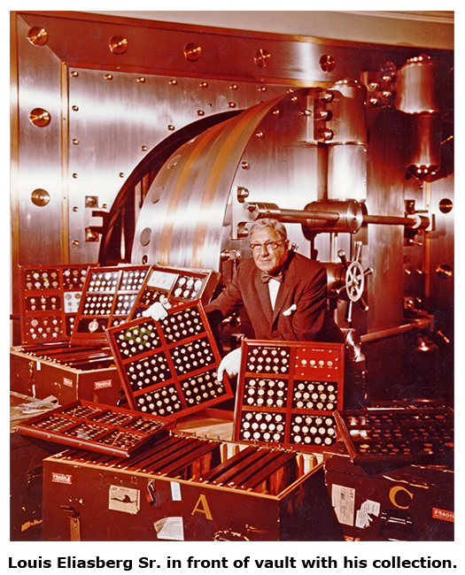 Louis Eliasberg Sr. poses with his collection in front of his vault