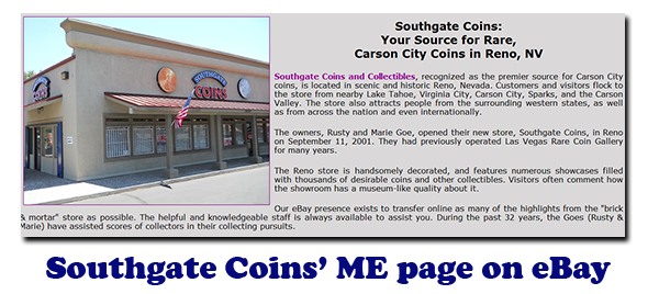Southgate Coins' ME page on eBay - We Buy & Sell Coins, Gold, and Silver