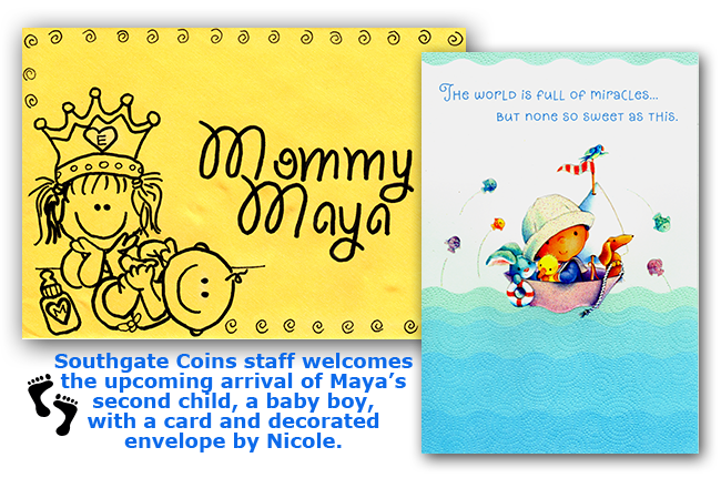 Southgate Coins honors manager Maya Jones announcement of a baby on the way