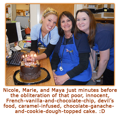 Southgate Coins owner Marie Goe poses with employees Nicole Hoff and Maya Jones before digging into her birthday cake