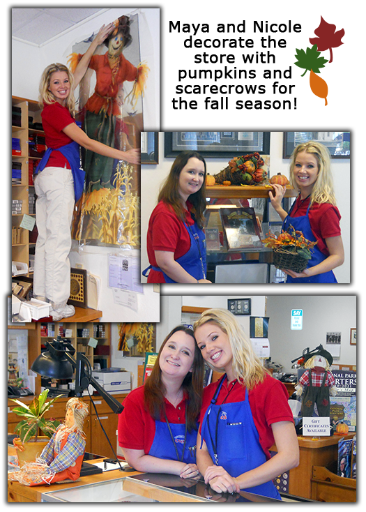 Southgate Coins employees Nicole Hoff and Maya Jones decorate for autumn at the Reno coin shop