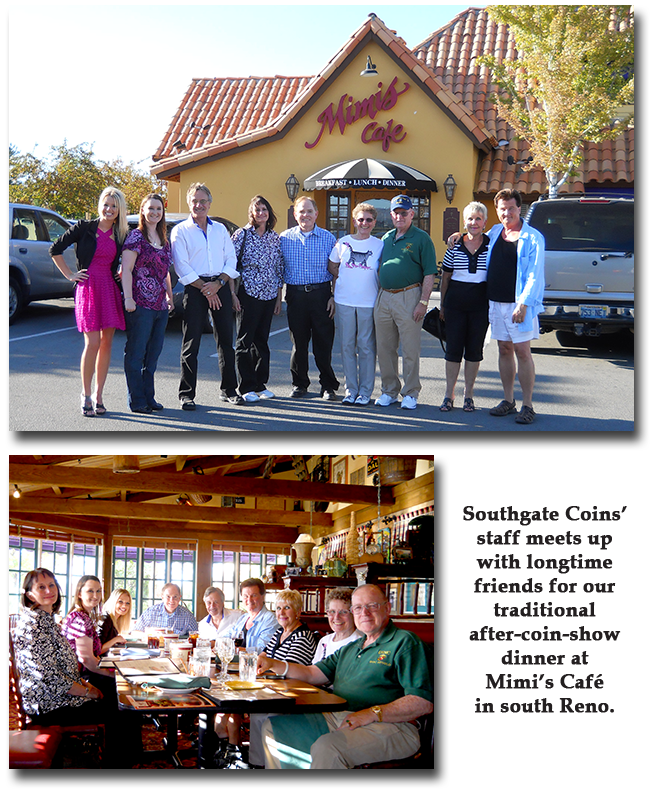 Southgate Coins staff dines with clients and C4OA members at Mimi's Cafe in Reno