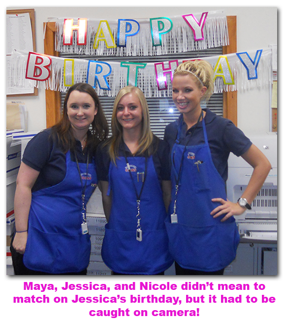 Southgate Coins employees Nicole Hoff and Maya Jones congratulate Jessica on her birthday