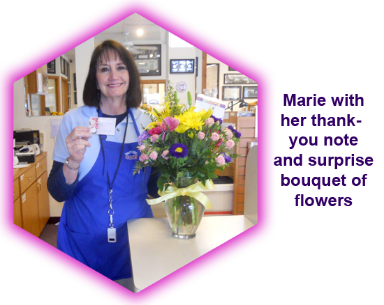 Southgate Coins owner Marie Goe received flowers from a satisfied client