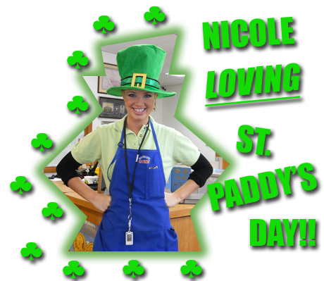 Southgate Coins employee Nicole Hoff dressed up for St. Patrick's Day