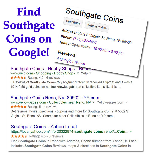 Find Southgate Coins Reviews on Google Places, Yelp, and YP.com