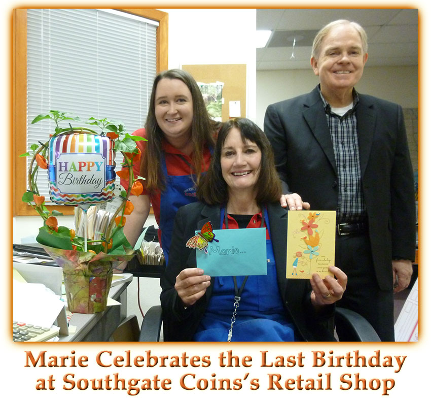 Southgate Coins honors Marie Goe on her birthday-the last one celebrated at their Reno coin shop before it closes