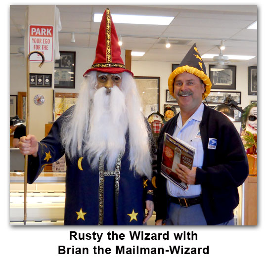 Southgate Coins owner and longtime mailman and friend, Brian, pose on Halloween 2011