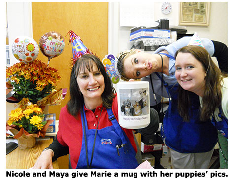 Marie gets Yorkie mug for her Birthday at Southgate