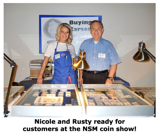 Nicole Hoff and Rusty Goe pose at the Carson City Coin Show
