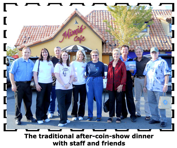 C4OAers and Southgate Coins employees gather for dinner at Mimi's after the coin show