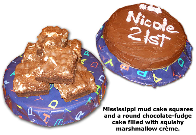 Southgate Coins owner Rusty Goe presents employee Nicole Hoff with Mississippi mud cakes on her birthday