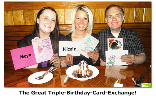 The Southgate Coins trio of May birthdays exchange cards
