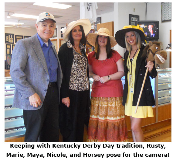 Southgate Coins staff pose with Horsey for Kentucky Derby Day 2011
