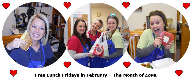 Southgate Coins employees enjoy Free Lunch Friday during February: the month of Love