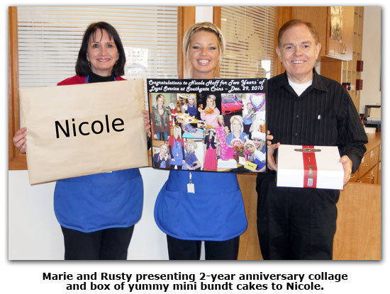Southgate Coins owners Rusty and Marie Goe celebrate Nicole's 2 year anniversary achievement