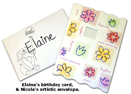 Elaine receives a birthday card and decorated envelope from Southgate Coins coworkers