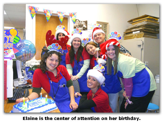 Elaine's birthday celebration at the coins shop is a bit hit