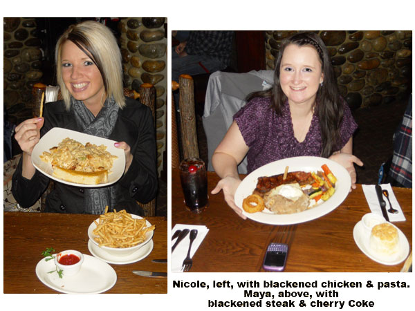 Southgate Coins team members Nicole and Maya eat their delicious blackened chicken and steak