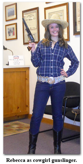 Rebecca brings out here inner cowgirl during Southgate Coins Halloween dress up day