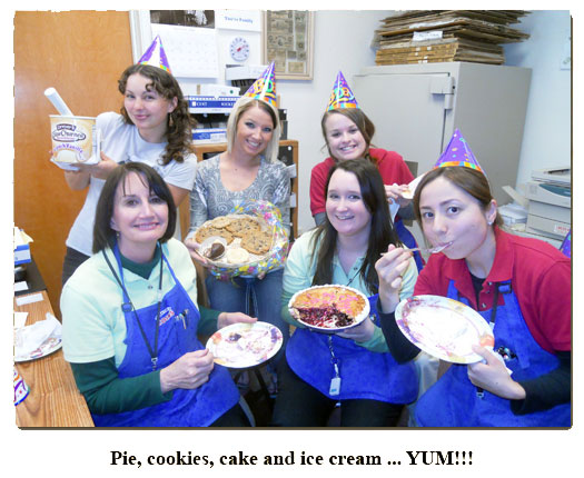 Southgate Coins staff enjoys pie, cake, and cookies on Marie's birthday