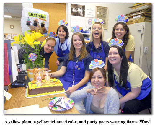 Southgate Coins employees enjoy cake for Rebecca's birthday