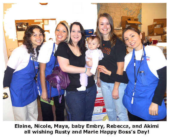 Southgate employee Maya and her baby Embry meets up with staff to surprise Rusty and Marie on Boss's Day