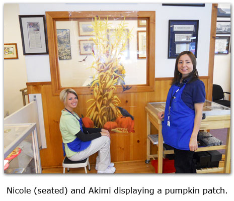 Nicole and Akimi place fall decorations at Southgate Coins